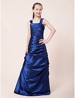 Lanting Bride® Floor-length Taffeta Junior Bridesmaid Dress A-line / Princess Straps Natural with Side Draping / Ruching