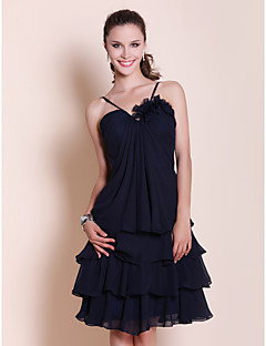 Knee-length Chiffon Bridesmaid Dress - Dark Navy Plus Sizes / Petite A-line / Princess Sweetheart / Spaghetti Straps