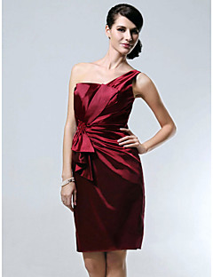 Cocktail Party/Holiday Dress - Burgundy Plus Sizes Sheath/Column One Shoulder Knee-length Stretch Satin
