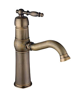 Antik Centerset Singel Handtag Ett hål in Antik mässing Badrum Sink kran