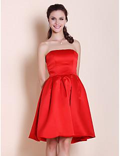 Lanting Bride® Knee-length Satin Bridesmaid Dress A-line / Princess Strapless Plus Size / Petite with Pleats