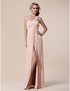 저녁 정장파티/밀리터리 볼 드레스 - 펄 핑크 시스/컬럼 바닥 길이 원 숄더 쉬폰/엘라스틱 우븐 사틴