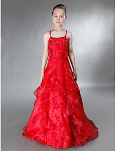Floor-length Satin / Organza Junior Bridesmaid Dress - Ruby A-line / Princess Spaghetti Straps