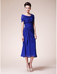 Lanting Sheath/Column Plus Sizes / Petite Mother of the Bride Dress - Royal Blue Tea-length Short Sleeve Chiffon