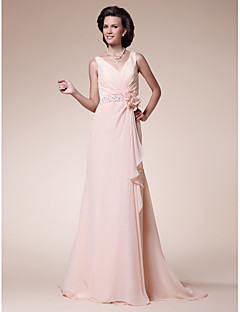 Lanting A-line Plus Sizes / Petite Mother of the Bride Dress - Pearl Pink Sweep/Brush Train Sleeveless Chiffon