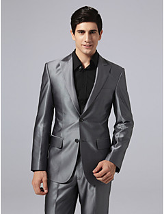 Suits Tailored Fit Peak Single Breasted Two-buttons Polyester Solid 1 Piece Gray Straight Flapped