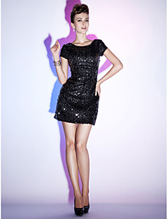 Cocktail Party/Holiday/Sweet 16 Dress - Black Plus Sizes Sheath/Column Bateau Short/Mini Sequined