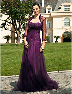 A-line Plus Sizes Mother of the Bride Dress - Grape Floor-length 3/4 Length Sleeve Tulle