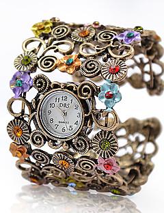 Dame Moteklokke Armbåndsur Quartz Legering Band Vintage Blomst Armring Elegante klokker Bronse