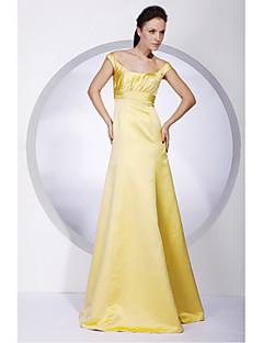 Lanting Floor-length Satin Bridesmaid Dress - Daffodil Plus Sizes / Petite A-line / Princess Off-the-shoulder