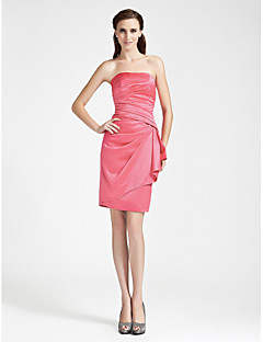 Lanting Knee-length Satin Bridesmaid Dress - Watermelon Plus Sizes / Petite Sheath/Column Strapless