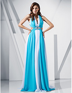 Prom / Military Ball / Formal Evening Dress - Multi-color Plus Sizes / Petite Sheath/Column V-neck Sweep/Brush Train Chiffon