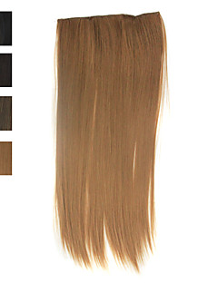 100% värme-vänlig fiber silkeslen rakt klipp i hårförlängning 4 färger tillgängliga