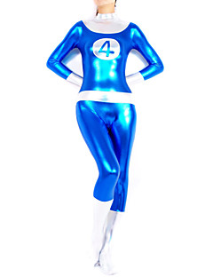 Blue and Silver No.4 Shiny Metallic Women Spandex Catsuit