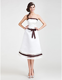 Tea-length Satin/Organza Bridesmaid Dress - Ivory Plus Sizes A-line/Princess Strapless