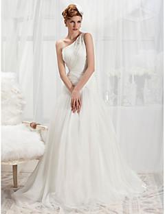 lanting 트럼펫 / 인어 어깨 하나 법원 기차 쉬폰 웨딩 드레스
