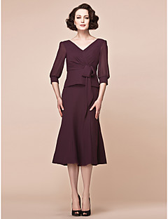 Sheath/Column Plus Sizes Mother of the Bride Dress - Burgundy Tea-length 3/4 Length Sleeve Chiffon