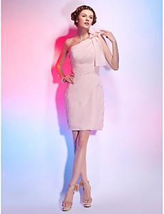 칵테일 파티 드레스 - 펄 핑크 시스/컬럼 핫팬츠/미니 원 숄더 쉬폰 플러스 사이즈