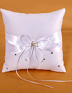 Ring Pillow In White Satin With Sash And Rhinestones