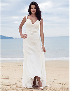 Lanting Sheath/Column Spaghetti Straps Sweep/Brush Train Chiffon Wedding Dress