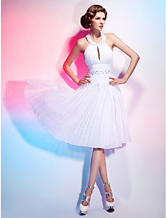 Cocktail Party/Graduation Dress - White Plus Sizes A-line/Princess Halter Knee-length Chiffon