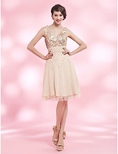 Cocktail Party Dress - Pearl Pink Plus Sizes / Petite A-line / Princess V-neck / Straps Knee-length Chiffon / Sequined