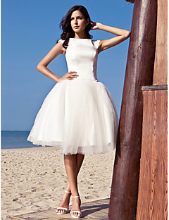 Lan Ting Ball Gown Wedding Dress - Ivory Knee-length Bateau Satin/Tulle