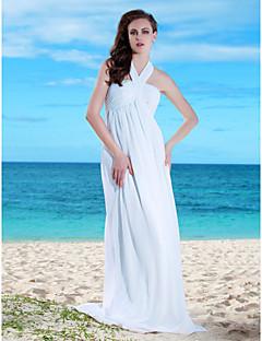 Sheath/Column Plus Sizes Wedding Dress - White Floor-length Halter Chiffon