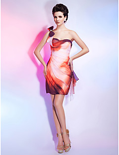 Homecoming Cocktail Party/Homecoming Dress Sheath/Column One Shoulder/Sweetheart Short/Mini Chiffon