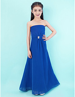 A-Line Strapless Floor Length Chiffon Junior Bridesmaid Dress with Crystal Detailing Side Draping by LAN TING BRIDE®