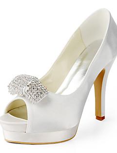 szatén tűsarkú peep toe strasszos esküvői cipő (több szín)