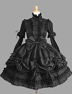 One-Piece/Dress Gothic Lolita Lolita Cosplay Lolita Dress Black Solid/Lace Long Sleeve Knee-length Dress For Women Cotton