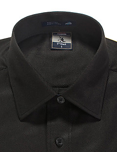 メンズストライプ長袖四角い襟シャツ