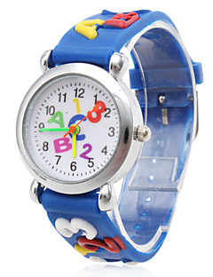 Kinderen Modieus horloge Kwarts Silicone Band Cartoon Teksthorloge Blauw Blauw