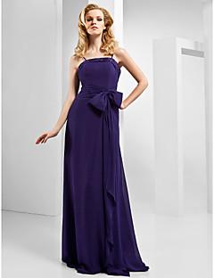 라인 스파게티 스트랩은 바닥 길이 쉬폰 이브닝 드레스