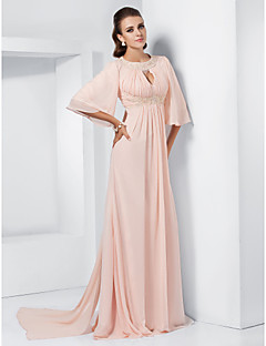 TS Couture® Formal Evening / Military Ball / Prom Dress - Pearl Pink Plus Sizes / Petite A-line / Princess Jewel Sweep/Brush Train / Watteau Train