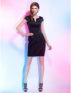 Cocktail Party Dress - Black Plus Sizes / Petite Sheath/Column Notched Short/Mini Satin