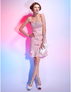 Cocktail Party Dress - Pearl Pink Plus Sizes Sheath/Column Strapless/Sweetheart Short/Mini Sequined/Chiffon