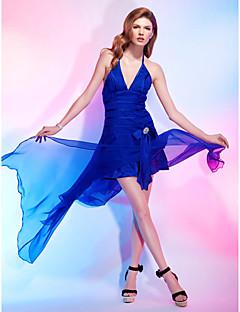 Cocktail Party Dress - Royal Blue Plus Sizes / Petite A-line / Princess Halter / V-neck Asymmetrical Chiffon / Stretch Satin