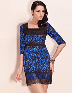 TS Banana Print Lace Trimmed Dress