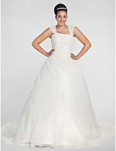Lanting morsian pallo viitta plus sizeswedding dress-kappeli juna neliö organza