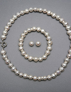 eleganta en sötvatten pärla smycken set, inklusive halsband, armband och örhängen