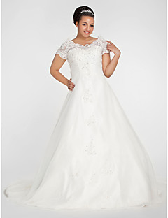 Lan Ting Ball Gown Plus Sizes Wedding Dress - Ivory Chapel Train Off-the-shoulder Organza