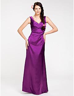 Lanting Bride® Longo Cetim Elástico Vestido de Madrinha - Tubinho Decote V Tamanhos Grandes / Mignon com Cruzado