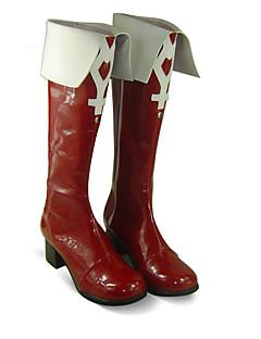 Botas de Fantasia Puella Magi Madoka Magica Kyoko Sakura Anime Sapatos de Cosplay Branco / Vermelho Pele PU Feminino