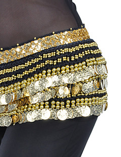 Belly Dance Belt Women's Training Polyester Beading / Coins 1 Piece Black / Blue / Fuchsia / Green / Pink / Purple / Red / White / Yellow