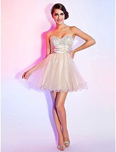 Homecoming Cocktail Party/Sweet 16/Prom/Homecoming Dress - White A-line Sweetheart/Strapless Short/Mini Organza