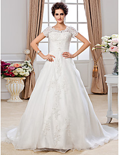 Lanting Bride® A-line Petite / Plus Sizes Wedding Dress - Classic & Timeless Fall 2013 Chapel Train Off-the-shoulder Organza with