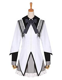 에서 영감을 받다 마법소녀 마도카와 마기카 Homura Akemi 에니메이션 코스프레 코스츔 코스프레 정장 / 학교 유니폼 패치 워크 화이트 긴 소매 코트 / 셔츠 / 나와 / 크라뱃