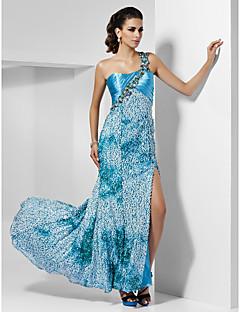 schede / kolom een schouder asymmetrisch vloer-length lovertjes avond / prom dress